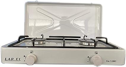 Larel - Hornillo de gas para camping: cocina de mesa, color blanco, a gas GLP o metano, de 2 fuegos
