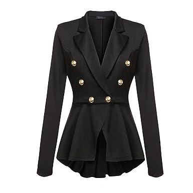 CHENMA Women Lapel Double Breast Suit Jacket Ruffle Frill Blazer