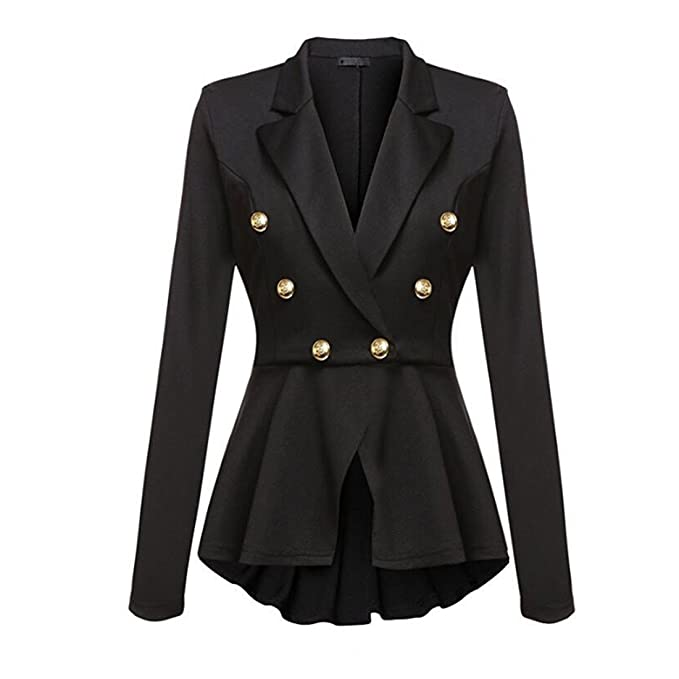 CHENMA Women Lapel Double Breast Suit Jacket Ruffle Frill ...