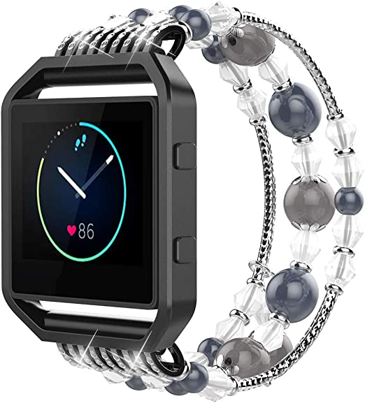 Simpeak Fashion Elastic Band Compatible with Fitbit Blaze Smartwatch Fitness, Handmade Beaded Jewelry Bracelet Band Strap Replacement for Fit bit ...