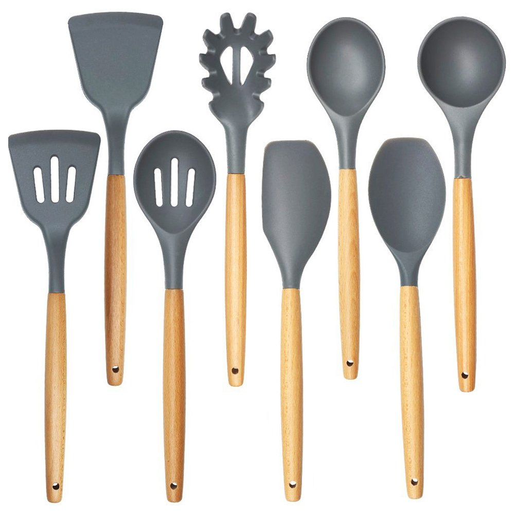 Cooking Utensils,8 Piece Kithcen Utensils Set,Shxmlf Wood Utensils Set Wood Spoon Spatula Set, Non-stick Utensil Set,Gray Kitchen Utensils, Eco-friendly(8) by shxmlf (Image #1)