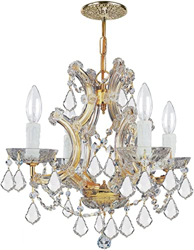 Crystorama 4474-GD-CL-S Crystal Accents Four Light Mini Chandeliers from Maria Theresa collection in Gold, Champ, Gld Leaffinish,