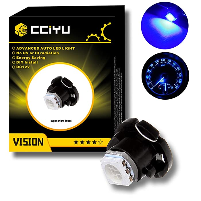 cciyu 10 Pack Super Blue 5050 SMD T5 Neo Wedge LED Light Climate Heater Control Lamp Bulbs 12-14V DC Replacement fit for 1999-2001 Saab 9-3