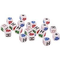 MagiDeal Paquete De 20pcs Juegos de Mesa Dados Seis Lados 12mm para Casino Poker Card
