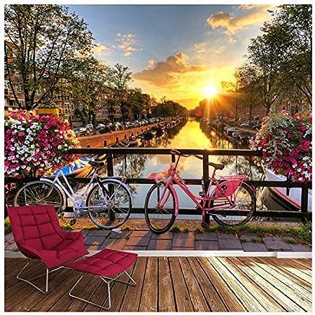 azutura Flores y Bicicletas Rosadas Fotomurales Canal Amsterdam ...