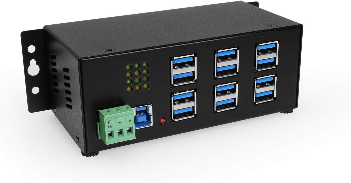 Coolgear Industrial 12-Port USB 3.0 Powered Hub for PC-MAC DIN-Rail Mount