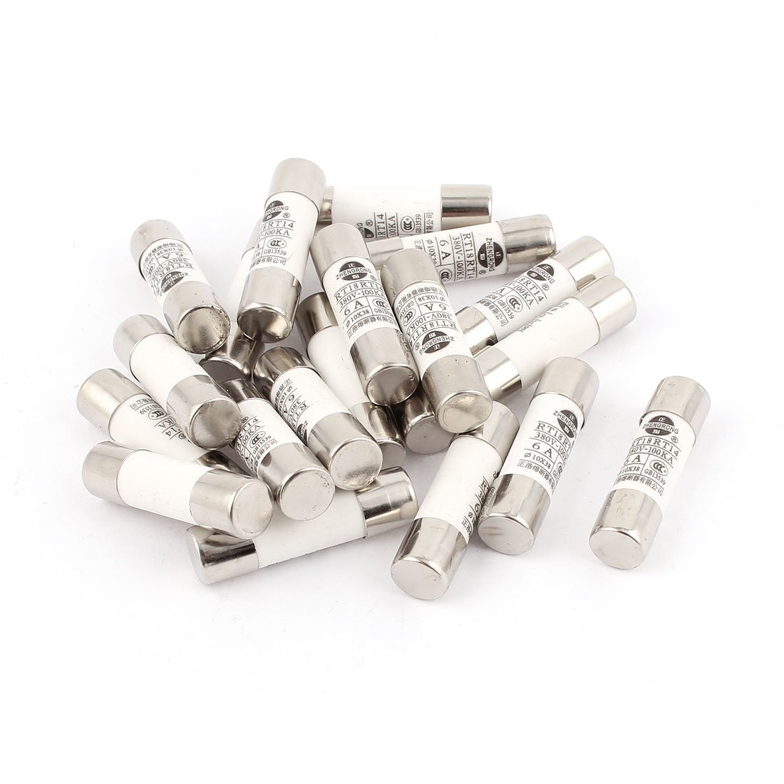 20 Pcs RO15 RT18 RT14 Ceramic Cylindrical Tube Fuse 6A 380V 10x38mm