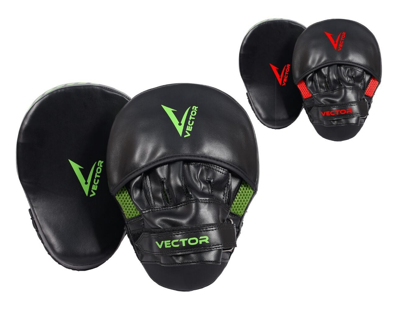Vector Sports Maya Hide Leather Boxing Focus Pads MMA Punching Pads Kickboxing Training Gloves with Wrist Support (Red) by Vector Sports