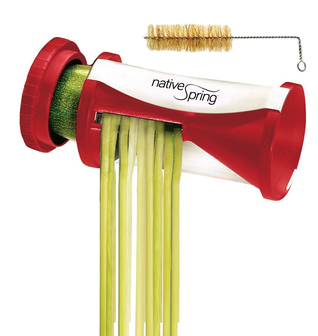 Spiral vegetable slicer hand held with cleaning brush zucchini and - Amazon Com Native Spring Spiral Vegetable Slicer Hand Held With Cleaning Brush Zucchini Carrot Veggie Pasta Maker Kitchen Dining