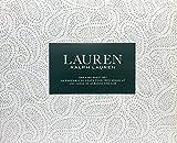 Lauren Ralph Lauren 4 Piece King Sheet Set Geometric Grey Paisley Dots Pattern on White - 100% Cotton