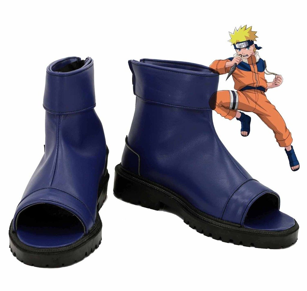 Telacos Naruto Anime Uzumaki Naruto Ninja Cosplay Shoes Blue Boots Custom Made by Telacos