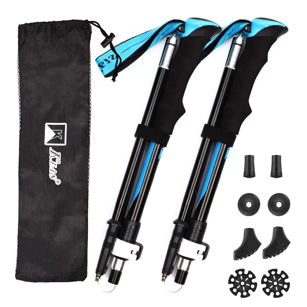 Trekking Poles Collapsible Hiking Pole 2pc Pack Foldable Walking Sticks Strong Lightweight Aluminum 7075 Adjustable Quick Flip-Lock for Camping Hiking Backpacking and Snowshoeing (Blue)