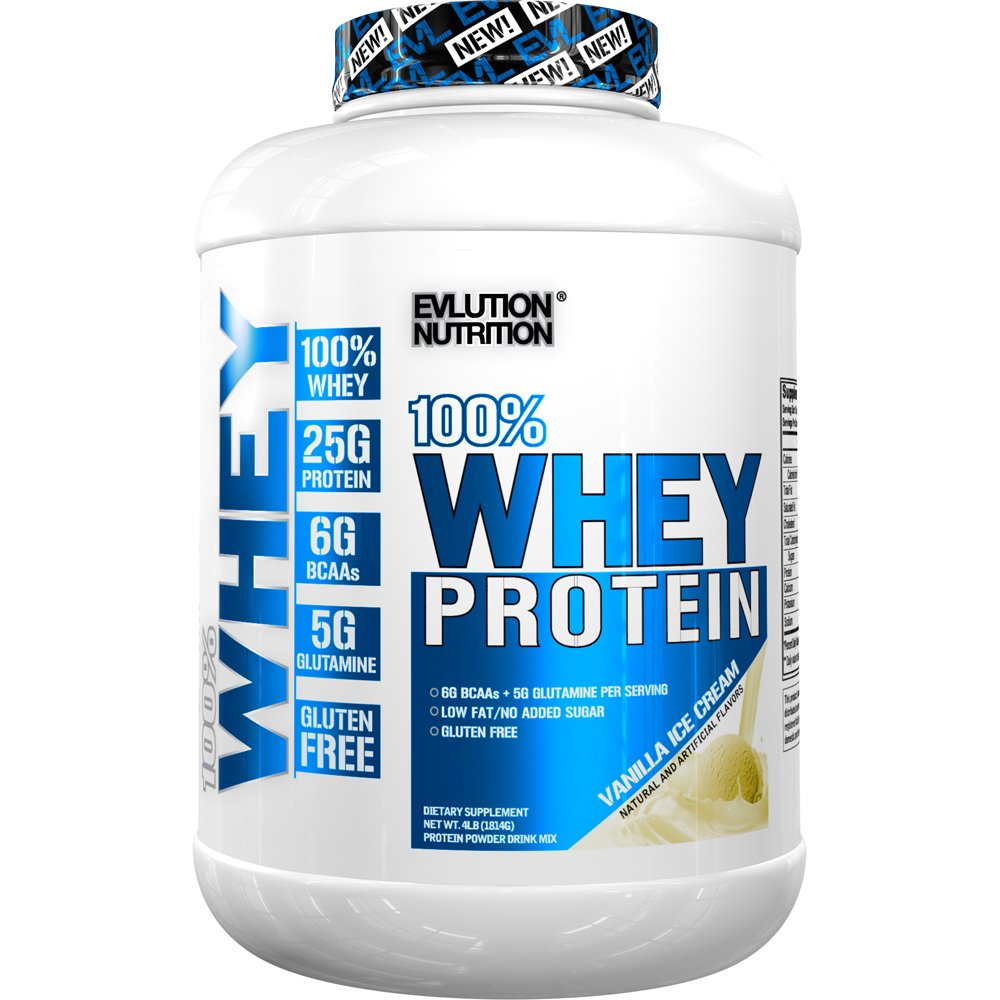 Evlution Nutrition 100% Whey Protein, 25g of Whey Protein, 6g of BCAAs, 5g of Glutamine, Gluten Free (4 LB, Vanilla Ice Cream) by Evlution
