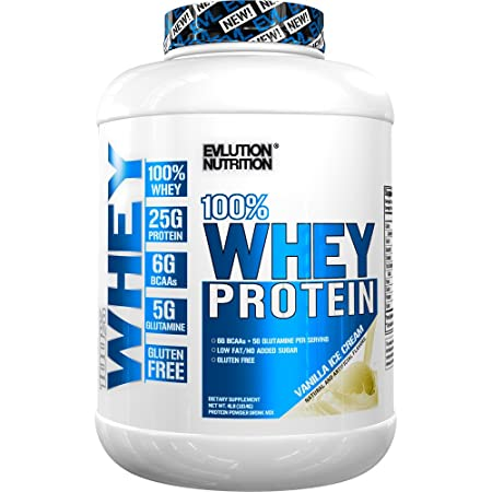 Evlution Nutrition 100 Whey Protein, 25g of Whey Protein, 6g of BCAAs, 5g of Glutamine, Gluten Free 4 LB, Vanilla Ice Cream