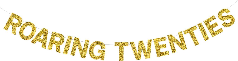 Yvokii Gold Glitter Roaring Twenties Banner,Roaring 20S Party Decoration Supplies Retro 1920s Backdrop Twenties Art Decor Jazz Fashion Great for Birthday Wedding Bridal Shower Bachelorette Party