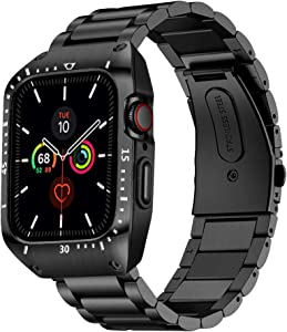 HATALKIN Compatible with Apple Watch Series 6 5 4 44mm Band with Metal Bumper Case,Rugged Men Bands for Apple Watch SE / iWatch 6 5 4 44mm Stainless Steel Cases Protector Drop-Proof Shockproof (Black)
