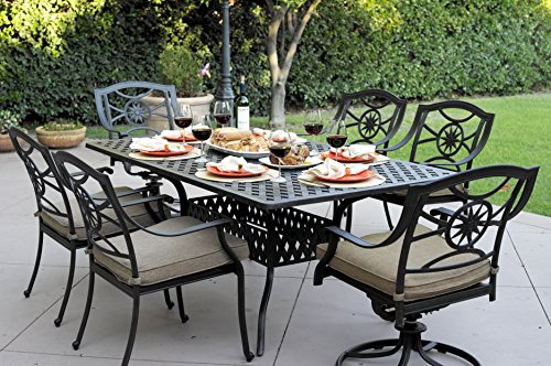 (Darlee Ten Star Cast Aluminum 7 Piece Series 30 Dining Table Set with Seat Cushions, 42