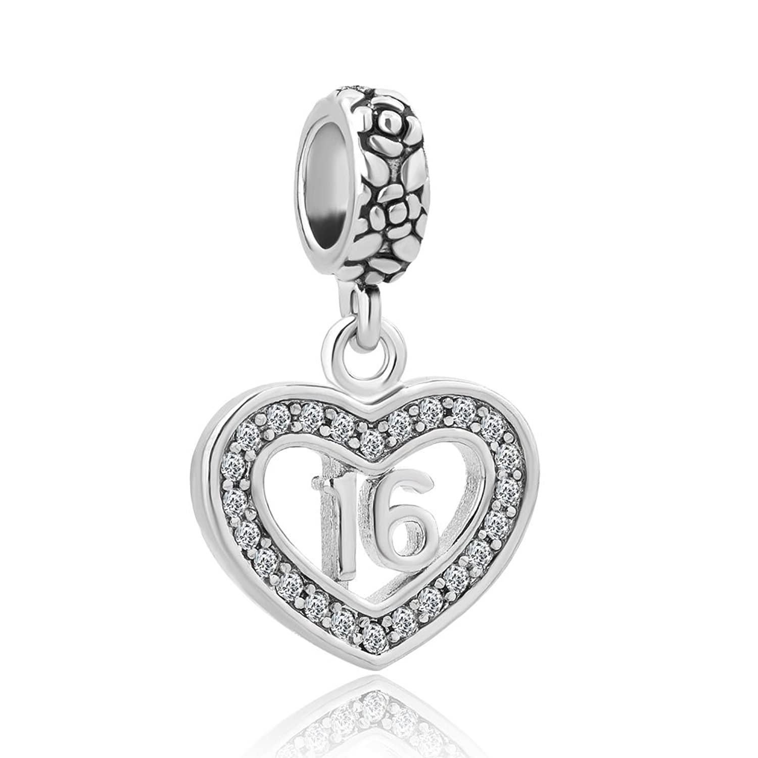 Charmed Craft Heart 18 Coming-of-age Sweet 16 Birthday Gifts Charms Crystal Dangle Beads For Bracelets