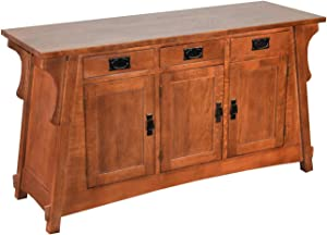 Crafters & Weavers Mission Solid Oak Sofa Table/Console Table/Sideboard with Three Drawers and Cabinets