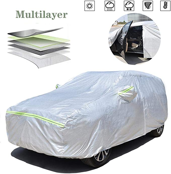 Waterproof SUV Car Covers All Weather UV Protection Windproof Snow-Proof Dust-Proof Scratch Resistant Universal Full Car Cover with Zipper Fit for SUV up to 189/'/' Car Cover V1-fit SUV up to 189