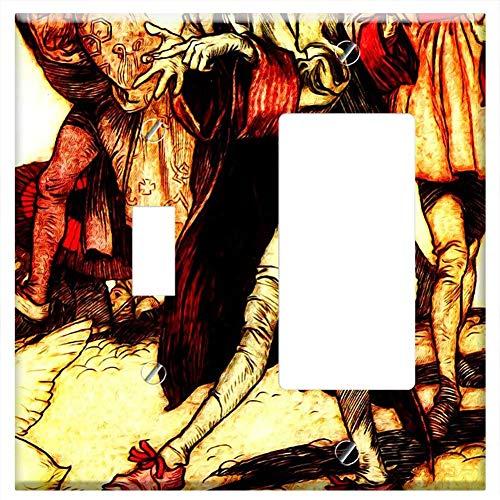 1-Toggle 1-Rocker/GFCI Combination Wall Plate Cover - Gullivers Travels Arthur Rackham Vintage 2