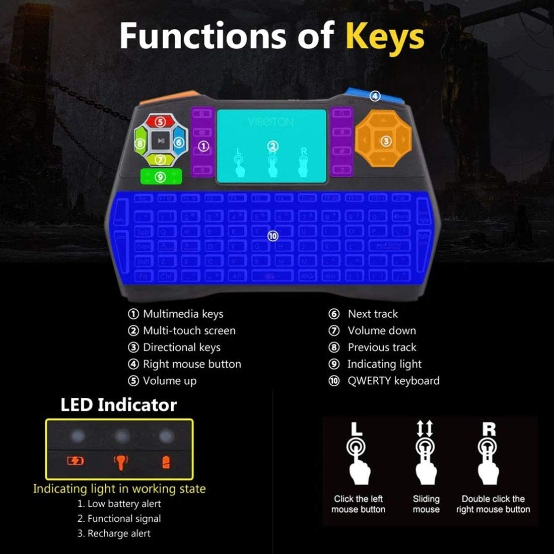 Happyshopping Russian i8 air Mouse Wireless Keyboard with touchp I8 Plus Mini 2.4GHz Wireless 5-Color Backlight Keyboard with Touchpad Mouse,for E-Sports Mechanical Game Keyboard