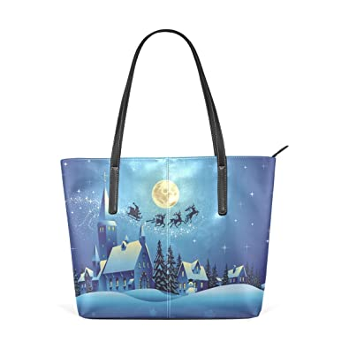 e81ac3ce38b6 JSTEL Women Tote Top Handle Church And Houses Christmas Night ...