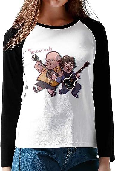 Tenacious D - Camiseta de algodón con Cuello Redondo y Manga Larga para Mujer Camisa de Corte básico básica de béisbol con Manga raglán: Amazon.es: Ropa y accesorios