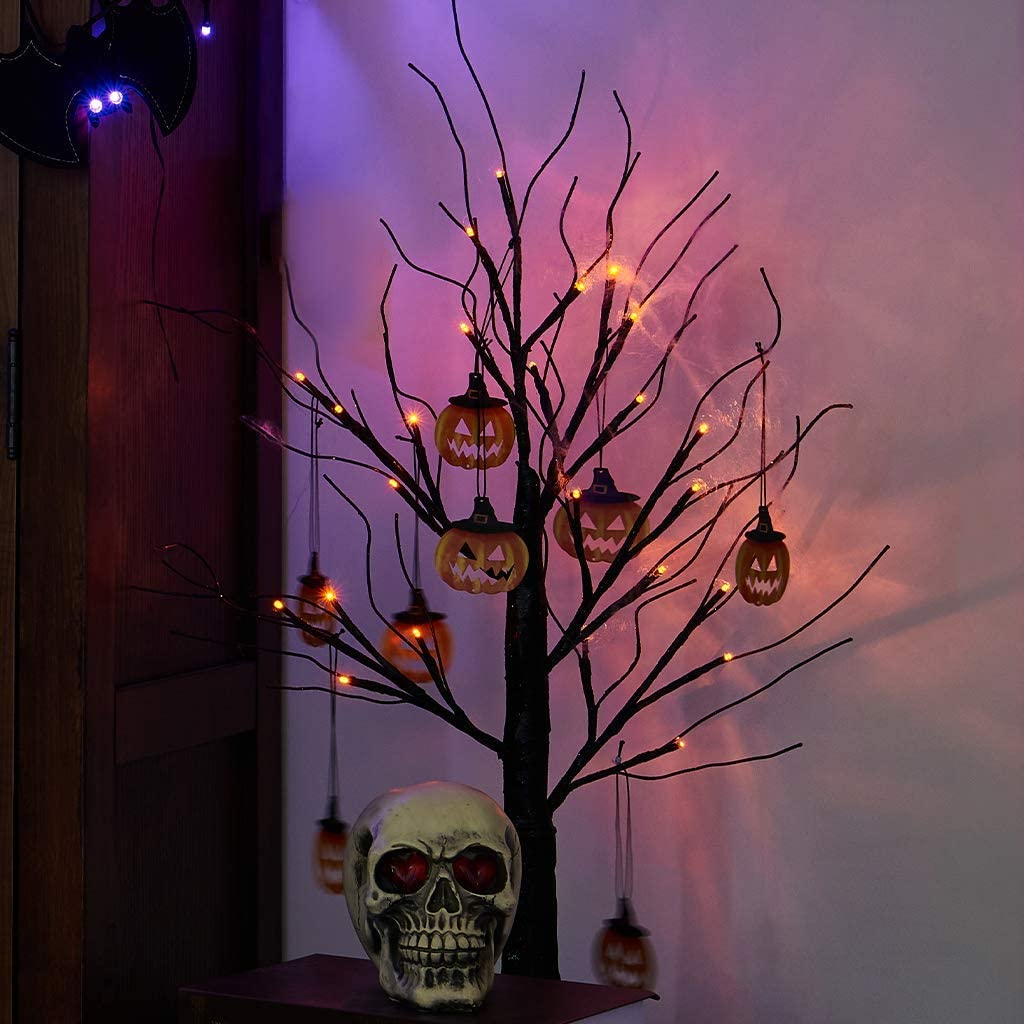 Padoo 2FT Halloween Black Tree Battery Powered with 24 Orange Lights and Pumpkin Ornaments Light Up Bonsai Tree for Halloween Indoor Tabletop Decoration