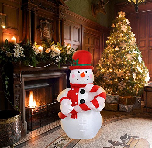 4 Ft Inflatable Christmas Snowman hold a Candy Cane Decoration for Indoors Outdoors Home Yard Lawn Garden Decor by JF Deco