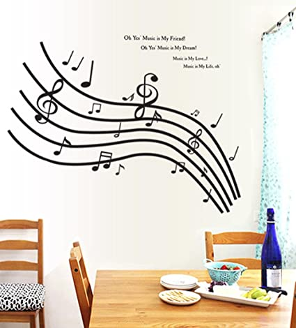 Amazon Com Bibitime Musical Notation Wall Decal English Song Quotes