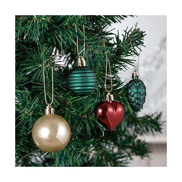 Valery Madelyn Palle di Natale 60 Pezzi di Palline di Natale, 3-5 cm di Strada di Campagna Rosso Verde e Oro Infrangibile Ornamenti di Palla di Natale Decorazione per la Decorazione 5 spesavip