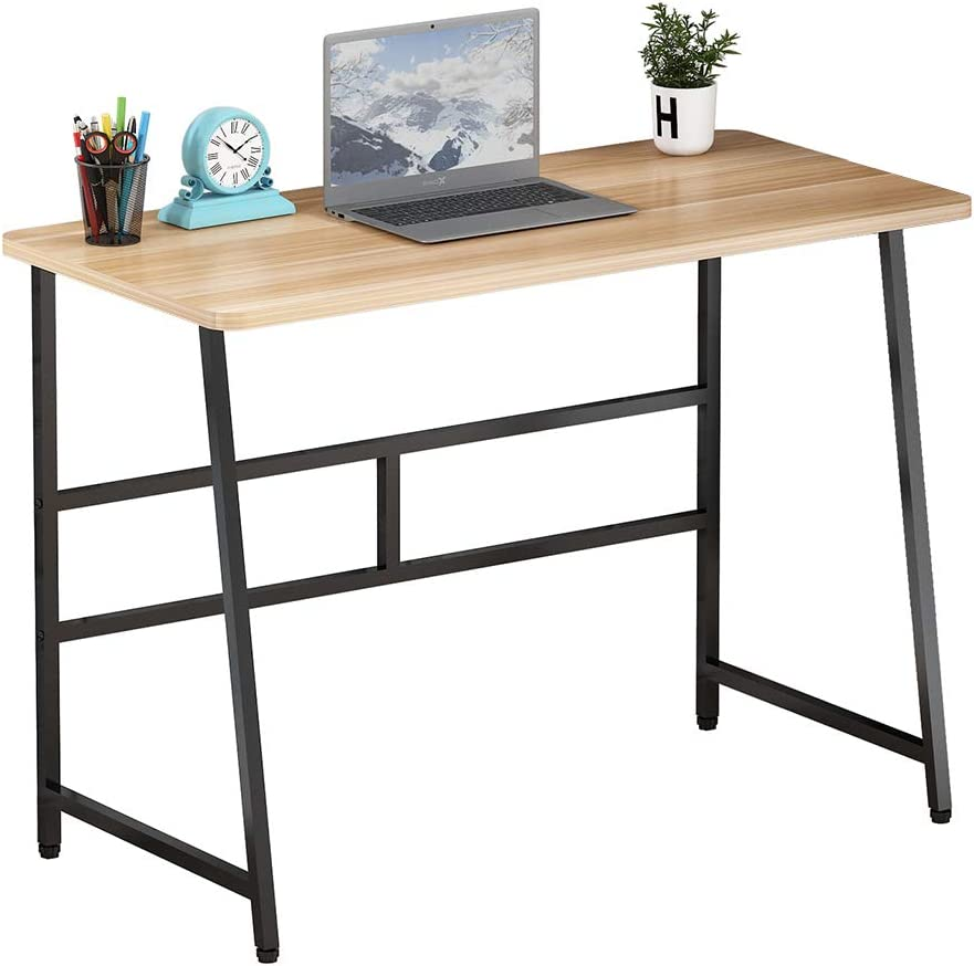 Simple Computer Desk Modern Wood Writing Study Table Small Industrial Home Office Work Desk Suitable for Living Room, Bedroom, Study Room, Office, Classroom (Walnut)