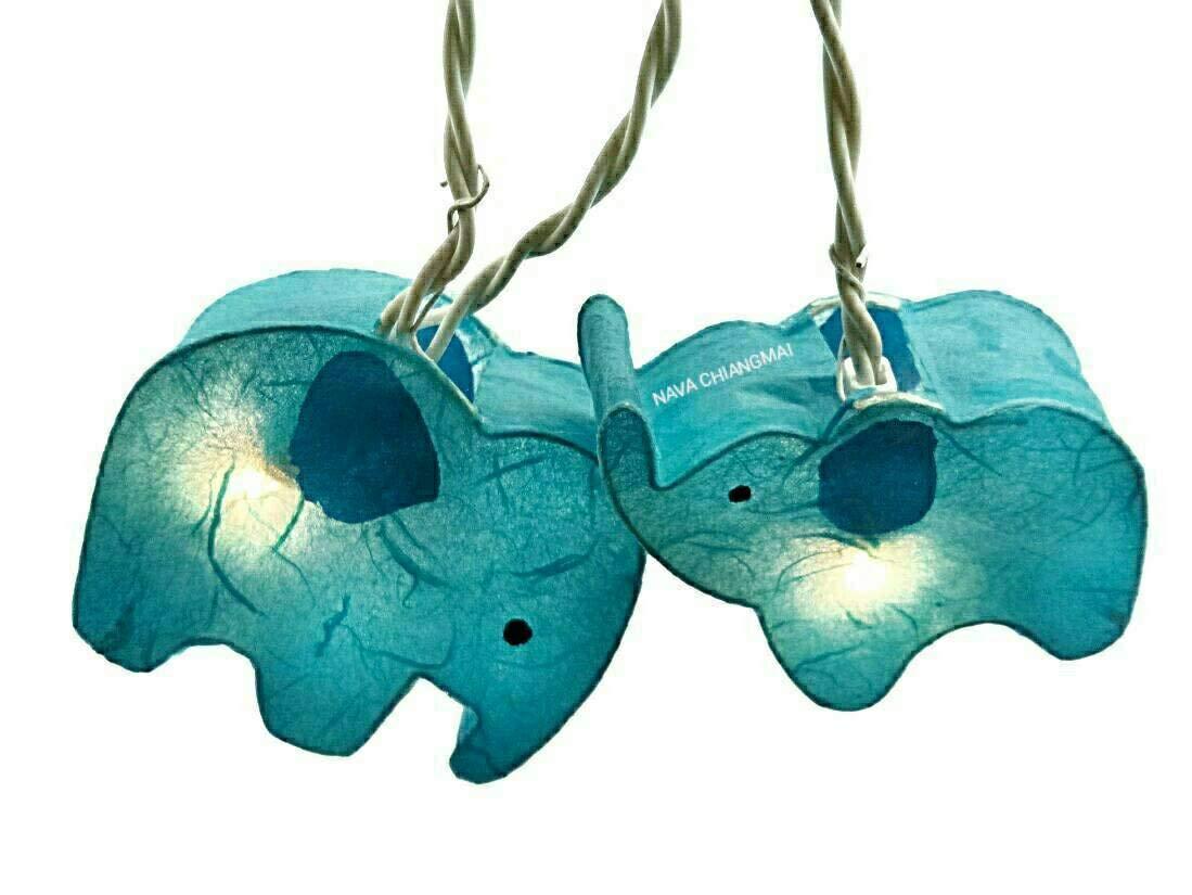 NAVA CHIANGMAI Handmade Blue Color Elephant Animal Set for Kid Bedroom Lighting String 20 Yarn Bulb Lights Set Hanging Lamp Home Decoration, Patio, Living Room, Yard & Garden Indoor and Outdoor
