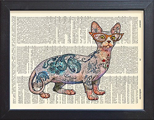 (Sphynx cat print, tattoo poster, vintage book page art.)