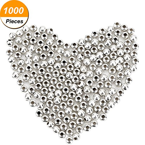 Pangda 1000 Pack 4 mm Metal Spacer Beads Silver Plated Round Beads Tiny Smooth Beads for Necklaces, Bracelets and Jewelry Making