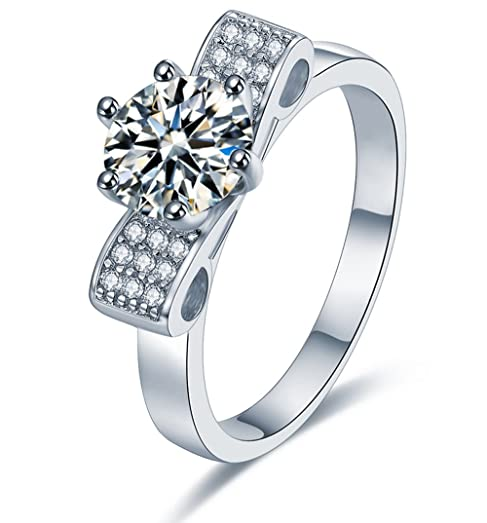 Sreema London 925 Sterling Silver Brilliant Round Cut Crystals Engagement / Wedding Ring 6mmfMe