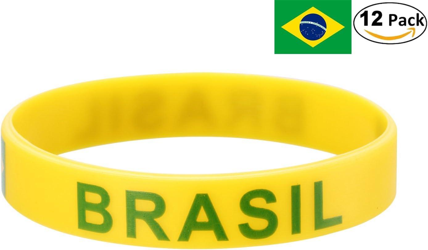 YDT 2018 Copa Mundial de la FIFA Brazalete Deportivo Pulseras de la Bandera Nacional de Silicona para los Fanáticos del Fútbol Brasil Amarillo (12 Piezas): Amazon.es: Deportes y aire libre