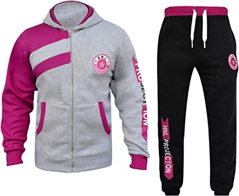 shelikes Kids Girls Boys Tracksuit Hooded Hoodie and Bottom Jogging Suit Joggers Set