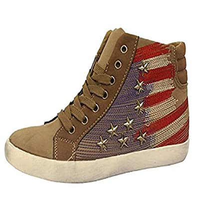 ca94e19d5536 Ladies Hi Top Flat Sport Studded Star Trainers Women Lace Up Girl Pump  Shoes 3-8  Amazon.co.uk  Shoes   Bags