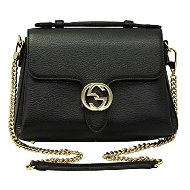 686b5f73ce4 Amazon.com  Gucci Interlocking G Black Leather Chain Shoulder Bag ...