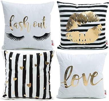 Amazon.com: Monkeysell - Funda de almohada de franela dorada ...