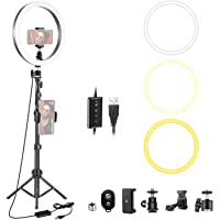 Neewer Dimmable 10-inch LED Ring Light with 47Inches Tripod Stand, Cellphone Holder Compatible with iPhone Xs Max XR…