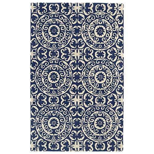 Bombay Home Hand-tufted Runway Suzani Navy/ Ivory Wool Rug (3' x 5')