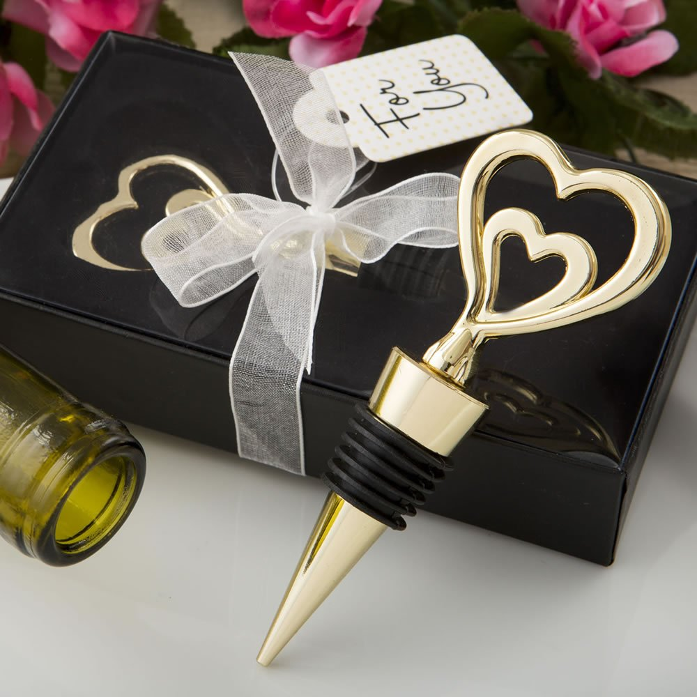 56 Gold Double Heart Design All Metal Bottle Stoppers