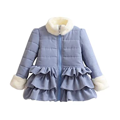 3a9acf8a4f2e Amazon.com  Mud Kingdom Little Girls  Winter Zipper Ruffled Trench ...