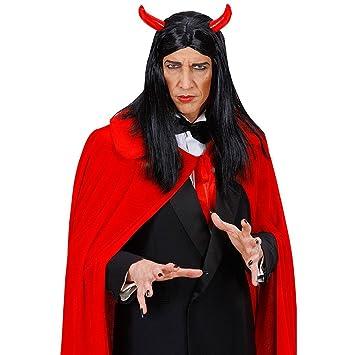 Peluca de carnaval unisex con cuernos de diablo negro cabello largo satanás halloween