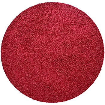 iCustomRug Cozy Soft And Plush Pile, (4 Diameter) Round Shag Area Rug In Red
