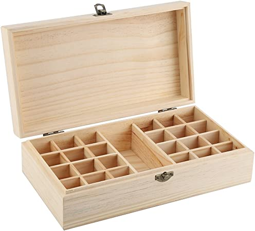 Fishlor Caja de Almacenamiento de Madera, Caja de Almacenamiento de Madera Caja organizadora de Almacenamiento para Aceite Esencial Aromaterapia Contenedor Joyas Tesoro: Amazon.es: Hogar