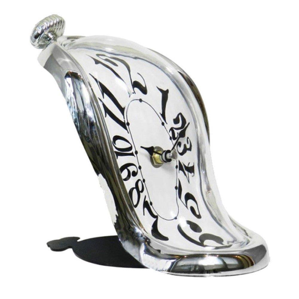 RD Reloj Sobremesa Inspirado en el Cuadro de Salvador DaIi Cuarzo Plateado: Amazon.es: Hogar